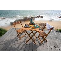 Meubles D'exterieur - De Jardin Ensemble repas de jardin ou de balcon 2 places - 1 table et 2 chaises pliables - Bois acacia