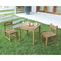 Meubles D'exterieur - De Jardin Ensemble repas de jardin pour enfant - table carree 65x65cm et 2 chaises - En bois - Pour enfant
