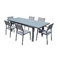 Meubles D'exterieur - De Jardin HORIZON Ensemble repas de jardin - Table extension automatique en alu + 2 fauteuils + 4 chaises alu et toile enduite - Gris