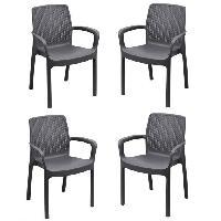 Meubles D'exterieur - De Jardin Lot de 4 fauteuil empilable REGINA en résine tréssée - Gris anthracite - Aucune