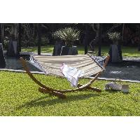Meubles D'exterieur - De Jardin RIO Hamac extérieur avec support en bois - Tissu a motifs rayés - Aucune