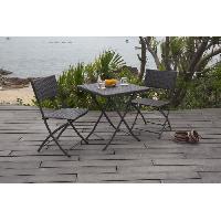 Meubles D'exterieur - De Jardin Set Bistrot - Acier & Résine tressée - 2 places - Table 65 x 65 cm + 2 chaises - Gris