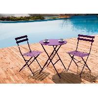 Meubles D'exterieur - De Jardin Set bistrot 2 personnes - Table ronde 60 cm + 2 chaises - Acier  thermolaqué - Fuschia - HIENO