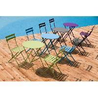 Meubles D'exterieur - De Jardin Set bistrot 2 personnes - Table ronde 60 cm avec 2 chaises - Acier  thermolaqué - Bleu - HIENO