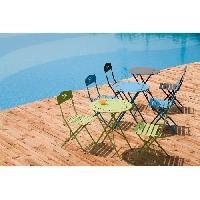 Meubles D'exterieur - De Jardin Set bistrot 2 personnes - Table ronde motif 60 cm + 2 chaises - Acier  thermolaqué - Gris - HIENO