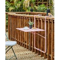 Meubles D'exterieur - De Jardin Table de balcon rabattable en Acier - 60 x 78 x 86-101 cm - Rose