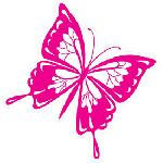 Mini sticker Papillon rose 125x95mm