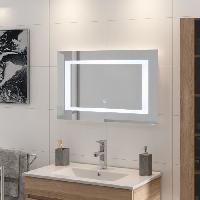 Miroir De Salle De Bain LOUNGITUDE Miroir rétro-éclairé - Cadre métal - L 80 cm - LED2 - Lola