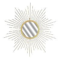 Miroir HELIOS Miroir soleil mural - 66 cm - Jaune dore
