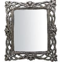 Miroir Miroir a poser et mural moderne en resine - 31 x 36 x 2 cm - Finition argent antique