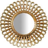Miroir Miroir a poser rond moderne en resine - O21 x 2 cm - Finition or antique
