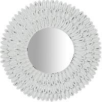 Miroir Miroir a poser rond moderne en résine - Ø21 x 3 cm - Finition blanc antique - Generique