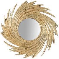 Miroir Miroir a poser rond moderne en resine - O24 x 1.5 cm - Finition or antique