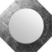 Miroir Miroir d'intérieur ortogonal - Mdf - Ø40 cm - Argent métalisé - Generique