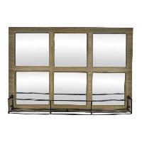 Miroir Miroir etagere en bois et metal - 52 x 36 x 11 cm - Style industriel - Naturel