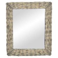 Miroir Miroir mural en osier - 53x63x4 cm - Gris vieilli