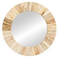 Miroir Miroir mural rustique en bois naturel - O 55 x 3.5 cm - Marron