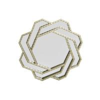 Miroir Miroir romantique en polypropylene - Ø60.5 cm - Beige champagne - Generique