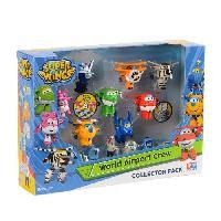 Monde Miniature Coffret Figurines Super Wings Collector de 8 Transform'a'bot + 7 figurines WORLD AIRPORT CREW Saison 1