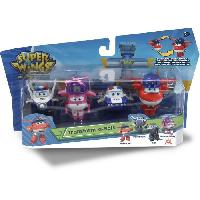 Monde Miniature SUPER WINGS Pack de 4 figurines Transform-a-Bot - 5 cm - Transformables - Jet Police-Paul-Kim-Dizzy Rescue