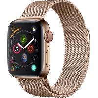 Montre Bluetooth - Montre Connectee AppleWatch Series4 GPS+Cellular. 40mm Boitier en acier inoxydable or avec Bracelet Milanais or