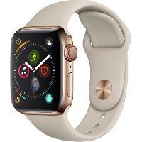 Montre Bluetooth - Montre Connectee AppleWatch Series4 GPS+Cellular. 40mm. Boitier en acier inoxydable or avec Bracelet Sport gris sable