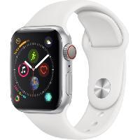 Montre Bluetooth - Montre Connectee AppleWatch Series4 GPS+Cellular. 40mm. Boitier en aluminium argent avec Bracelet Sport blanc
