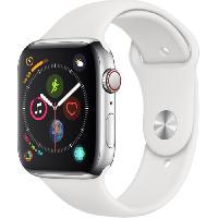 Montre Bluetooth - Montre Connectee AppleWatch Series4 GPS+Cellular. 44mm Boitier en acier inoxydable avec Bracelet Sport blanc