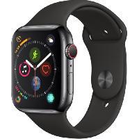 Montre Bluetooth - Montre Connectee AppleWatch Series4 GPS+Cellular. 44mm Boitier en acier inoxydable noir sideral avec Bracelet Sport noir
