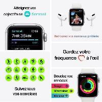 Montre Intelligente - Montre Connectee Apple Watch SE GPS. 44mm Boitier en Aluminium Argent avec Bracelet Sport Blanc