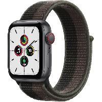 Montre Intelligente - Montre Connectee Apple Watch SE GPS + Cellular 2021 - 40mm - Boitier Space Grey Aluminium - Bracelet Tornado/Grey Sport Loop