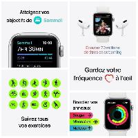 Montre Intelligente - Montre Connectee Apple Watch SE GPS + Cellular. 44mm Boitier en Aluminium Argent avec Bracelet Sport Blanc