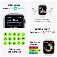 Montre Intelligente - Montre Connectee Apple Watch SE GPS + Cellular. 44mm Boitier en Aluminium Argent avec Bracelet Sport Bleu Intense