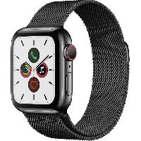 Montre Intelligente - Montre Connectee Apple Watch Series 5 Cellular 40 mm Boîtier en Acier Inoxydable Noir Sidéral avec Bracelet Milanais Noir Sidéral - S/M