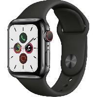 Montre Intelligente - Montre Connectee Apple Watch Series 5 Cellular 40 mm Boitier en Acier Inoxydable Noir Sideral avec Bracelet Sport Noir - S-M