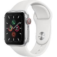 Montre Intelligente - Montre Connectee Apple Watch Series 5 Cellular 40 mm Boitier en Aluminium Argent avec Bracelet Sport Blanc - S-M