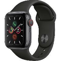 Montre Intelligente - Montre Connectee Apple Watch Series 5 Cellular 40 mm Boitier en Aluminium Gris Sideral avec Bracelet Sport Noir - S-M