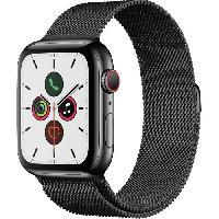 Montre Intelligente - Montre Connectee Apple Watch Series 5 Cellular 44 mm Boitier en Acier Inoxydable Noir Sideral avec Bracelet Milanais Noir Sideral - M-L