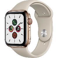 Montre Intelligente - Montre Connectee Apple Watch Series 5 Cellular 44 mm Boîtier en Acier Inoxydable Or avec Bracelet Sport Stone - M/L