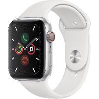 Montre Intelligente - Montre Connectee Apple Watch Series 5 Cellular 44 mm Boitier en Aluminium Argent avec Bracelet Sport Blanc - M-L