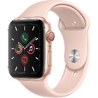 Montre Intelligente - Montre Connectee Apple Watch Series 5 Cellular 44 mm Boitier en Aluminium Or avec Bracelet Sport Rose - M-L