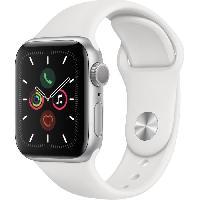 Montre Intelligente - Montre Connectee Apple Watch Series 5 GPS 40 mm Boîtier en Aluminium Argent avec Bracelet Sport Blanc - S/M