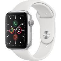 Montre Intelligente - Montre Connectee Apple Watch Series 5 GPS 44 mm Boîtier en Aluminium Argent avec Bracelet Sport Blanc - M/L