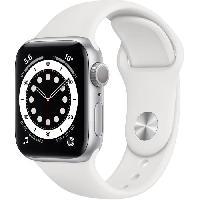 Montre Intelligente - Montre Connectee Apple Watch Series 6 GPS. 40mm Boitier en Aluminium Argent avec Bracelet Sport Blanc