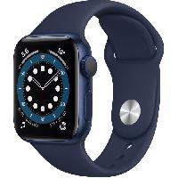Montre Intelligente - Montre Connectee Apple Watch Series 6 GPS. 40mm Boitier en Aluminium Bleu avec Bracelet Sport Bleu Intense