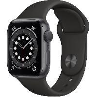 Montre Intelligente - Montre Connectee Apple Watch Series 6 GPS. 40mm Boitier en Aluminium Gris Sideral avec Bracelet Sport Noir