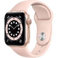 Montre Intelligente - Montre Connectee Apple Watch Series 6 GPS. 40mm Boitier en Aluminium Or avec Bracelet Sport Rose des Sables