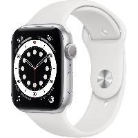 Montre Intelligente - Montre Connectee Apple Watch Series 6 GPS. 44mm Boitier en Aluminium Argent avec Bracelet Sport Blanc