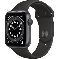 Montre Intelligente - Montre Connectee Apple Watch Series 6 GPS. 44mm Boitier en Aluminium Gris Sideral avec Bracelet Sport Noir