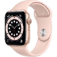 Montre Intelligente - Montre Connectee Apple Watch Series 6 GPS. 44mm Boitier en Aluminium Or avec Bracelet Sport Rose des Sables